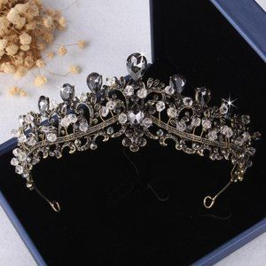 Charcoal Black Crystal Rhinestone Bronze Tiara